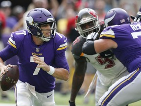 FILE  - In this Sunday, Sept. 24, 2017 file photo, Minnesota Vikings quarterback Case Keenum (7) throws a pass during the second half of an NFL football game against the Tampa Bay Buccaneers in Minneapolis. Case Keenum is coming off the best game of his career and might go back to the Minnesota Vikings bench this weekend. Such is the life of a backup quarterback.(AP Photo/Jim Mone, File)