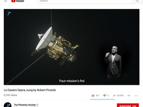 """This image shows a frame from a video posted on YouTube by The Planetary Society on Sept. 12, 2017, with actor Robert Picardo singing an operatic ode to the Cassini spacecraft. The actor from TV's old """"Star Trek: Voyager"""" series says he dashed off the lyrics in about a minute, several weeks ago. (The Planetary Society via AP)"""