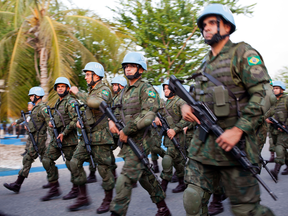 Brazilian soldiers parade in a ceremony marking the end of their United Nations peacekeeping tour in Haiti, Aug. 31, 2017. The UN is anxious for Canada to commit troops to a peacekeeping mission.