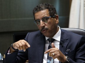 The director of the Central Bureau of Judicial Investigations, Abdelhak Khiame, gestures during an interview with The Associated Press at his headquarters in Sale near Rabat, Morocco, Tuesday, Sept. 19, 2017. Khiame says his government is working on a new strategy to track Moroccans who radicalize in Europe, as part of beefed-up counterterrorism efforts by a country that is both a key player in the global anti-extremism struggle and a source of international jihadis. (AP Photo/Abdeljalil Bounhar)