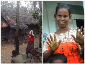 In this combination of two images in September 2017, at left, a photo provided by a local Buddhist Rakhine villager to prove an official narrative of Rohingya Muslim people setting fire to their own houses shows a woman wielding a machete with a group of people after setting fire to a Rohingya home. At right image made from video, the same woman, an Indian origin Myanmar woman with Hindu faith named Hazuli, gestures on Sept. 6, 2017, during an interview with journalists at a camp for refugees in Maungdaw, northern Rakhine state, Myanmar. (AP Photo)