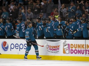 San Jose Sharks center Tomas Hertl (48) is congratulated by teammates after scoring a goal against the Montreal Canadiens during the second period of an NHL hockey game, Tuesday, Oct. 17, 2017, in San Jose, Calif. (AP Photo/Tony Avelar)