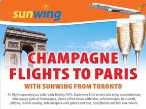 """Sunwing says it used the phrases """"champagne service"""" and """"champagne vacations"""" to denote the level of service in its travel packages overall, not the type of beverage served on flights."""
