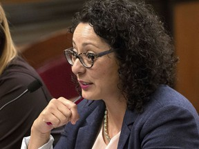 FILE - In this June 22, 2016 file photo, Assemblywoman Cristina Garcia, D- Bell Gardens, speaks at the Capitol in Sacramento, Calif. Women lawmakers, lobbyists and staffers in California's Capitol are encouraging each other to share stories of sexual harassment in the workplace in an effort to show its pervasiveness and to ensure more men stand up against it. Assemblywoman Garcia, said legislative leadership has taken positive steps toward empowering more women, but that work is far from done. (AP Photo/Rich Pedroncelli, File)