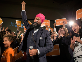 Jagmeet Singh celebrates with supporters after winning the first ballot in the NDP leadership race to be elected the leader of the federal New Democrats in Toronto on Oct. 1, 2017.