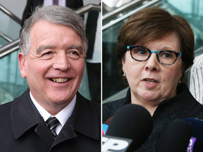 Gerry Lougheed and Pat Sorbara speak to reporters after being acquitted on charges in the Sudbury bribery scandal.