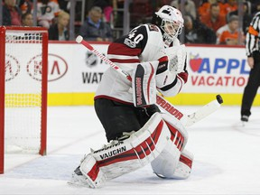 Arizona Coyotes' Scott Wedgewood stops the shot during the second period of an NHL hockey game against the Philadelphia Flyers, Monday, Oct. 30, 2017, in Philadelphia. (AP Photo/Chris Szagola)
