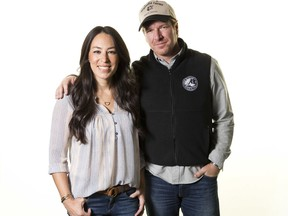 """FILE - In this March 29, 2016, file photo, Joanna Gaines, left, and Chip Gaines pose for a portrait to promote their home improvement show, """"Fixer Upper,"""" on HGTV in New York. In an interview with People magazine released on Oct. 11, 2017, the couple cited a grueling 11-month production schedule as a reason for the show's end. (Photo by Brian Ach/Invision/AP, File)"""
