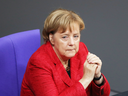 Angela Merkel on Wednesday, at the first Bundestag session since the collapse of government coalition talks.