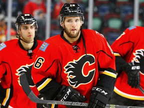 In this Nov. 10, 2016 file photo, Linden Vey warms up before a game with the Calgary Flames.