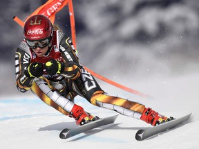 Ester Ledecka of the Czech Republic skis down the course during a training run for the women's World Cup downhill ski race in Lake Louise, Alta., on Thursday, Nov. 30, 2017. THE CANADIAN PRESS/Frank Gunn