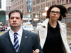 James Forcillo with his then-wife Irina Ratushnyak outside court in 2014. The couple divorced in July this year.