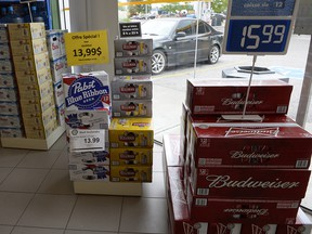 Beer is on display inside a store in Drummondville, Que., on Thursday, July 23, 2015.