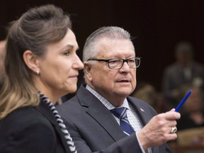 Communications Security Establishment Chief Greta Bossenmaier speaks with Public Safety Minister Ralph Goodale as they wait to appear before the Standing Committee on Public Safety and National Security, in Ottawa on Thursday, November 30, 2017.