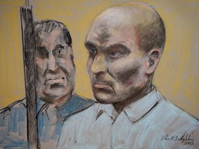 Bertrand Charest, who faces a total of 56 charges involving 11 young females, is seen on a court drawing during a bail hearing on March 16, 2015 in St-Jerome, Que. Former national ski coach Bertrand Charest is set to be sentenced today after his previous conviction on various sex-related charges involving teenage girls. A judge called Charest a sexual predator when he found him guilty last June on charges involving nine of the 12 women who'd accused him of crimes dating back more than 20 years.