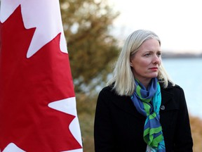 Environment Minister Catherine McKenna is seen on the shore of Lake Ontario in Toronto on Friday, Dec. 1, 2017, where she made a Great Lakes water-quality funding announcement. Canada's decentralized approach to putting a price on pollution is overly complex and will be difficult to implement the Organization for Economic Cooperation and Development says in a new report.
