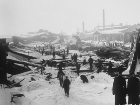 The aftermath of the 1917 Halifax ship explosion is shown in a file photo. The massive explosion that devastated Halifax 100 years ago tested all who survived, including a handful of reporters who were the first to get news of the unfolding disaster to the world. THE CANADIAN PRESS/National Archives of Canada