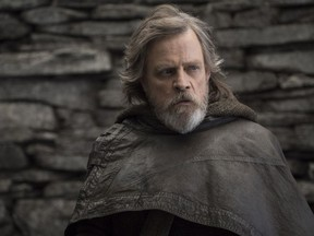 """This image released by Lucasfilm shows Mark Hamill as Luke Skywalker in """"Star Wars: The Last Jedi."""""""