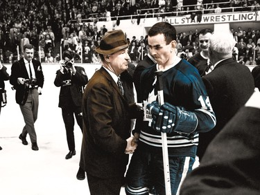 Punch Imlach (left) and Dave Keon celebrate the Leafs' 1967 Stanley Cup win over Montreal.