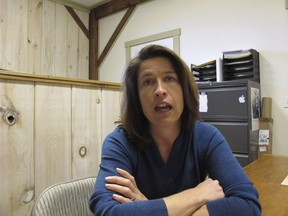 Carina Driscoll, the step-daughter of U.S. Sen. Bernie Sanders, talks about running for mayor of Burlington from her office at Vermont Woodworking School, which she founded, in Fairfax, Vt., Driscoll, a former city council member and ex-state legislator, announced Monday, Dec. 4, 2017, that she's running as an independent.