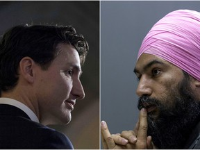 Justin Trudeau (left) and Jagmeet Singh (right).