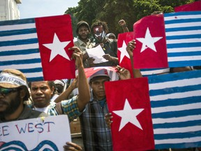 """FILE - In this May 1, 2013, file photo, Papuans display """"Morning Star"""" separatist flags during a protest commemorating the 50th year since Indonesia took over West Papua from Dutch colonial rule in 1963, in Yogyakarta, Indonesia. Prominent Papuans pleaded for the U.S. to give them money and arms in the mid-1960s to fight Indonesia's colonization of their vast remote territory, according to recently declassified American files that show the birth of an independence struggle that endures half a century later."""