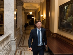 Ontario Progressive Conservative Leader Patrick Brown leaves Queen's Park after a press conference in Toronto on Wednesday, January 24, 2018.