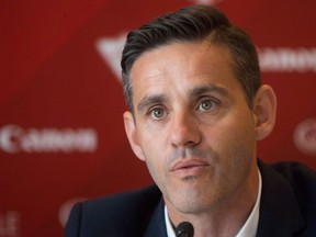 Canadian national women's soccer team coach John Herdman speaks during a news conference in Vancouver on April 14, 2016. Soccer Canada has announced new leadership of the Men's National Team Program under Herdman.