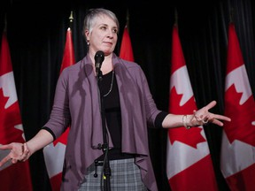 Patty Hajdu, Minister of Employment, Workforce Development and Labour, speaks to reporters at a Liberal cabinet retreat in Calgary, Alta., Monday, Jan. 23, 2017.