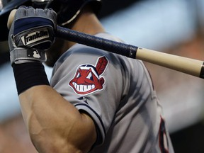 Cleveland Indians logo on a jersey during a baseball game against the Baltimore Orioles in Baltimore.  Indians are taking the divisive Chief Wahoo logo off their uniforms and caps, starting in 2019.