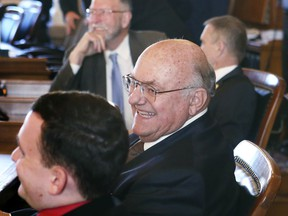 """Rep. Steve Alford, R-Ulysses, sits in the Kansas House at the start of the 2018 legislative session Monday, Jan. 8, 2018. Alford,  arguing against the legalization of any use of marijuana, suggested that it and other drugs were originally outlawed in part because blacks were """"basically users"""" and """"responded worst"""" to the drugs because of their """"character makeup _ their genetics and that."""" Alford made the comments Saturday during a public meeting at a hospital in Garden City."""