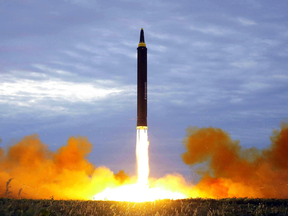 A missile lifts off during a launch test last year in North Korea.