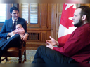 Prime Minister Justin Trudeau with Joshua Boyle and one of Boyle's children during a meeting in December at Parliament Hill.