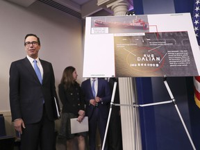 Treasury Secretary Steve Mnuchin waits to take the podium to begin a press briefing at the White House in Washington, Friday, Feb. 23, 2018. The Trump administration announced new sanctions on more than 50 vessels, shipping companies and trade businesses in its latest bid to pressure North Korea over its nuclear program.