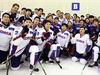 While the Korean women's hockey team is a mix of players from South and North Korea, the men's team features seven players from North America.