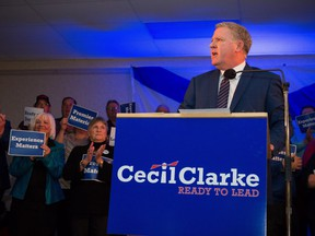 Cape Breton Regional Municipality Mayor Cecil Clarke speaks to supporters as he announces a leadership bid at a campaign launch in North Sydney, N.S. on Feb. 3, 2018.