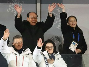 North Korean leader Kim Jong Un's sister Kim Yo Jong (back R) waves behind South Korean President Moon Jae-in (L) during the opening ceremony of the Pyeongchang 2018 Winter Olympic Games in Pyeongchang on February 9, 2018.