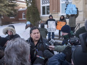 Alvin Baptiste, the uncle of the late Colten Boushie, speaks to media outside of the Court of Queen's Bench during a lunch recess on the fifth day of the trial of Gerald Stanley, the farmer accused of killing the 22-year-old Indigenous man, in Battleford, Sask., Monday, February 5, 2018.