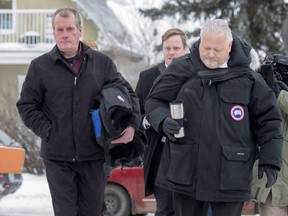 Defence attorney Scott Spencer, right, and his client Gerald Stanley enter the Court of Queen's Bench on the day of closing arguments in Stanley's trial.