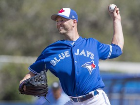 Toronto Blue Jays starter J.A. Happ pitches against the Detroit Tigers at spring training on Feb. 25.