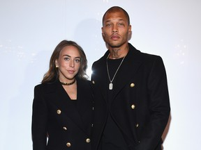 Chloe Green and Hot Felon at the Balmain Homme Menswear Fall/Winter 2018-2019 show as part of Paris Fashion Week on January 20, 2018 in Paris, France, because that is this man's life now.