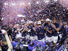 Villanova celebrates after an NCAA college basketball game against Providence in the Big East men's tournament final Saturday, March 10, 2018, in New York. Villanova won 76-66 in overtime.