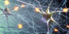 Illustration showing interconnected neurons with electrical pulses.