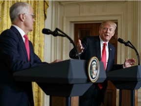 President Donald Trump speaks during a news conference with Australian Prime Minister Malcolm Turnbull in the East Room of the White House in Washington, Friday, Feb. 23, 2018.