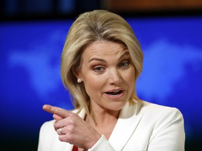 """FILE - In this Aug. 9, 2017, file photo State Department spokeswoman Heather Nauert speaks during a briefing at the State Department in Washington. Nauert's unlikely climb has taken her from """"Fox & Friends"""" to the upper echelons of American diplomacy in less than a year."""
