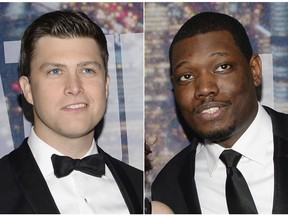 """This combination photo shows Colin Jost, left, and Michael Che at the Saturday Night Live 40th Anniversary Special in New York on Feb. 15, 2015. NBC says that Michael Che and Colin Jost of """"Saturday Night Live"""" will co-host this year's Emmy Awards. The 70th prime-time Emmy Awards will air Sept. 17."""
