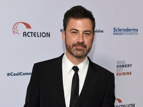 """FILE - In this June 16, 2017, file photo, Jimmy Kimmel attends the 30th annual Scleroderma Foundation Benefit at the Beverly Wilshire hotel in Beverly Hills, Calif. Kimmel has apologized for a joke about Melania Trump and moved to deescalate a feud with Fox News host Sean Hannity. In a Twitter post on Sunday, April 8, 2018 Kimmel said that while his exchanges with Hannity have been fun, he didn't want to add further to the """"vitriol"""" of their spat. Such animosity, Kimmel said, is """"harmful to our country."""""""