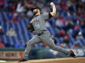 Arizona Diamondbacks starting pitcher Robbie Ray throws during the first inning of a baseball game against the Philadelphia Phillies, Tuesday, April 24, 2018, in Philadelphia.
