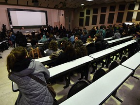 Students sit in a university classroom during their lectures. The university's teaching staff is 11 years older on average than the labour force at large — 51 years versus 42 — and older workforces are whiter workforces.
