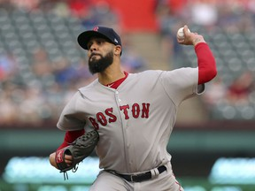 Boston Red Sox starting pitcher David Price throws to a Texas Rangers batter during the first inning of a baseball game in Arlington, Texas, Thursday, May 3, 2018.